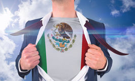 Businessman opening shirt to reveal mexico flag Royalty Free Stock Photo
