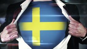 businessman opening shirt to reveal sweden flag on black background royalty free illustration