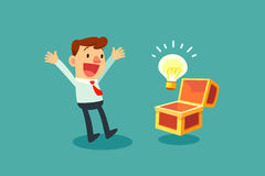 Businessman opening treasure chest and discover idea bulb. Happy businessman opening treasure chest and discover idea bulb royalty free illustration