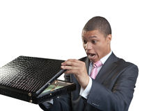 The businessman opens a briefcase Stock Photos