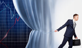 Businessman opens the schedule of success Stock Image