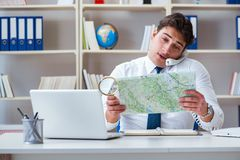 The businessman operator traveling agent working in the office Stock Image