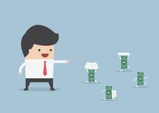 Businessman order money to do work instead him Stock Photos