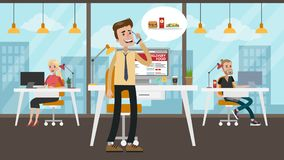 Businessman ordering food. Businessman ordering food from smartphone. Calling for the order Royalty Free Stock Photography