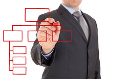 Businessman and organization chart Stock Photography