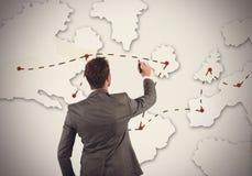 Businessman organizes marketing strategy Stock Image