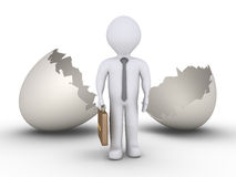 Businessman out of egg Stock Image