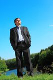 Businessman outdoor in summer full body Royalty Free Stock Image