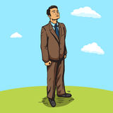 Businessman outdoors pop art style  vector Royalty Free Stock Photography