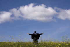 Businessman outstretched on a field Royalty Free Stock Photography