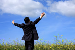 Businessman outstretched on a field Royalty Free Stock Photos