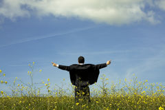 Businessman outstretched on a field Royalty Free Stock Images