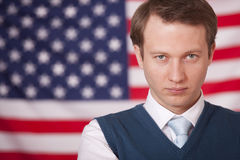 Businessman over american flag Stock Images