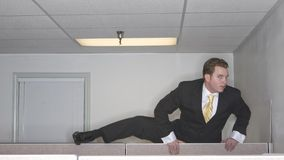 Businessman Over Cubicle Stock Photos
