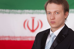 Businessman over iran flag Royalty Free Stock Photo