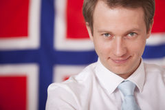 Businessman over norwegian flag Royalty Free Stock Photography