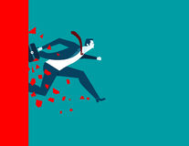 Businessman over wall. Concept business illustration. Vector flat Royalty Free Stock Photography
