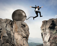 Businessman overcomes obstacles Stock Images