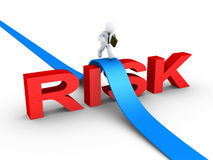 Businessman overcoming risk word. 3d businessman is running on path over the word RISK Stock Photography