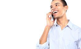 Businessman overjoyed with his phone call Stock Photography