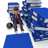 Businessman Overload Work Represents Binder Folders And Burden. Businessman Overload Work Meaning Support Commerce And Correspondence Stock Photo