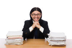 Businessman overwhelmed and stressed from Royalty Free Stock Photos