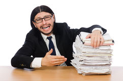 Businessman overwhelmed and stressed from Stock Photo