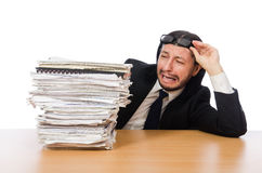 Businessman overwhelmed and stressed from Royalty Free Stock Images