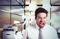 Businessman overworked in overtime. Businessman stressed and overworked yelling in office Stock Images