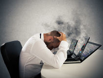 Businessman overworked worn computers Stock Images