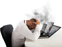 Businessman overworked worn computers Stock Image