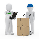 Businessman package delivery. Businessman get a package delivery and signs Stock Photo