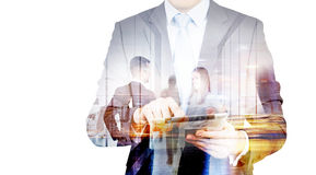 Businessman with pad multiexposure Stock Images