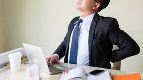 Businessman pain back, Office syndrome Royalty Free Stock Images
