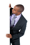 Businessman with panel Stock Photo
