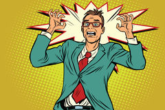 Businessman in panic, stress at work Stock Photos