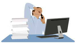 Businessman in panic. A young man sits at his desk and talking on the mobile phone. Collapse on the exchange. Financial crisis Stock Image