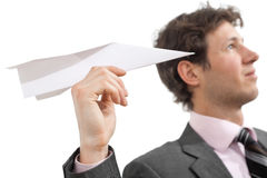 Businessman with paper airplane Stock Photos