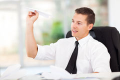 Businessman paper airplane Stock Photo