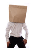Businessman with paper bag in head Royalty Free Stock Images