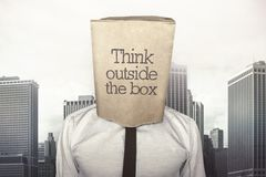 Businessman with a paper bag on head Royalty Free Stock Photos