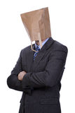 Businessman with paper bag on his head Royalty Free Stock Image