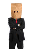 Businessman With Paper Bag Over Head Royalty Free Stock Photos