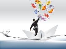 Businessman on paper boat stock illustration