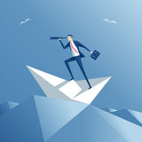 Businessman and paper boat Royalty Free Stock Photography