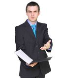 Businessman with paper folder. Isolated . Cheerful businessman with paper folder. Isolated over white stock photography