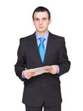 Businessman with paper folder. Isolated . Royalty Free Stock Images