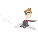 Businessman on paper plane pointing Stock Photos
