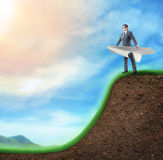 Businessman in paper plane Stock Images