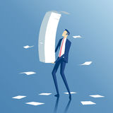 Businessman and paper work. Employee carries a large stack of papers and sheets of paper fly, business concept paper work and workload Stock Image
